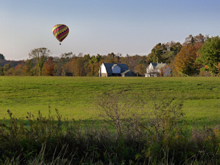 Hot air balloon over the neighbor's field, October 9.