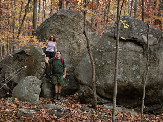 Near large split boulder