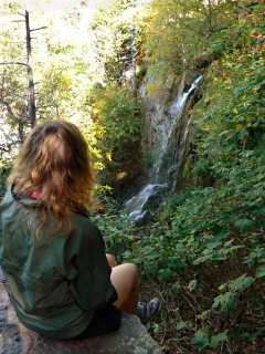 Zhanna, woods, waterfall