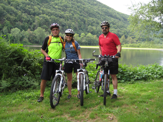 The Susquehanna warriors! Two mooses and John by the Susquehanna River.
