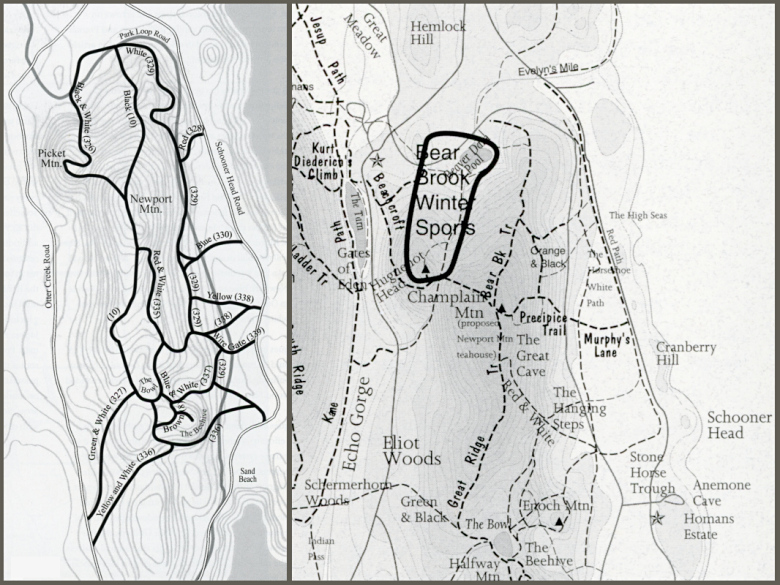 Maps from Pathmakers (left) and Trails of History (right). Note trail on Trails of History map that doesn't appear on Pathmakers map, and discrepancy in location of White Path.
