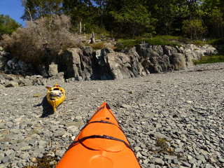Landing our sea kayaks on the cobble beach, Sheep Porcupine Island